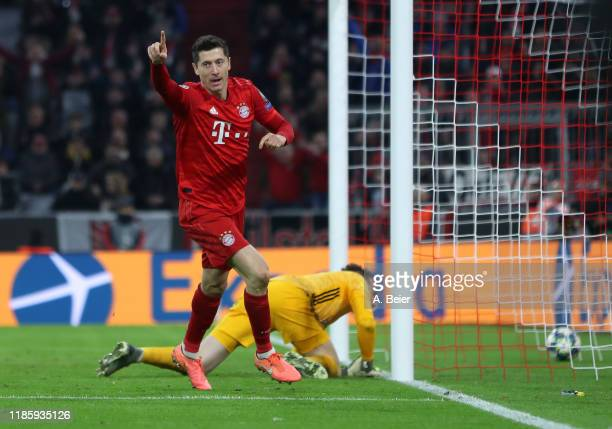Robert Lewandowski of FC Bayern Muenchen celebrates his first goal during the UEFA Champions League group B match between Bayern Muenchen and...