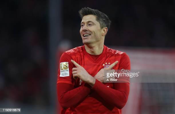 Robert Lewandowski of FC Bayern Muenchen celebrates his first goal during the Bundesliga match between FC Bayern Muenchen and SV Werder Bremen at...