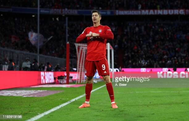Robert Lewandowski of FC Bayern Muenchen celebrates his first goal during the Bundesliga match between FC Bayern Muenchen and SV Werder Bremen at...