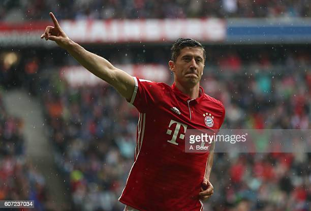Robert Lewandowski of FC Bayern Muenchen celebrates his first goal during the Bundesliga match between Bayern Muenchen and FC Ingolstadt 04 at...
