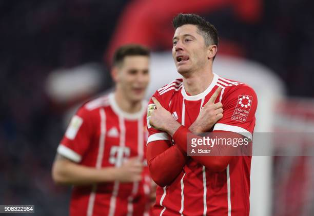 Robert Lewandowski of FC Bayern Muenchen celebrates his first goal during the Bundesliga match between FC Bayern Muenchen and Werder Bremen at...
