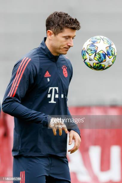 Robert Lewandowski of FC Bayern Muenchen controls the ball at Saebener Strasse training ground on November 5, 2019 in Munich, Germany. FC Bayern...