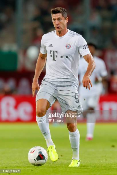 Robert Lewandowski of FC Bayern Muenchen controls the ball during the DFB Cup first round match between Energie Cottbus and FC Bayern Muenchen at...