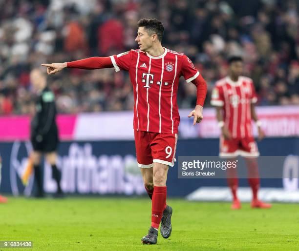 Robert Lewandowski of FC Bayern Muenchen gestures during the Bundesliga match between FC Bayern Muenchen and FC Schalke 04 at Allianz Arena on...