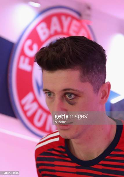Robert Lewandowski of FC Bayern Muenchen is pictured at the players' tunnel before the Bundesliga match between FC Bayern Muenchen and Borussia...