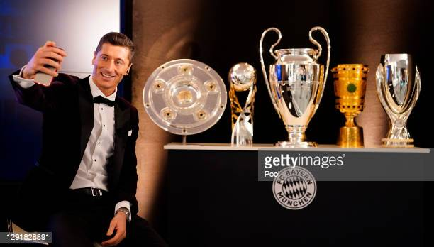 Robert Lewandowski of FC Bayern Muenchen is pictured awaiting the decision of the FIFA Men's Player 2020 during the FIFA The BEST Awards ceremony on...