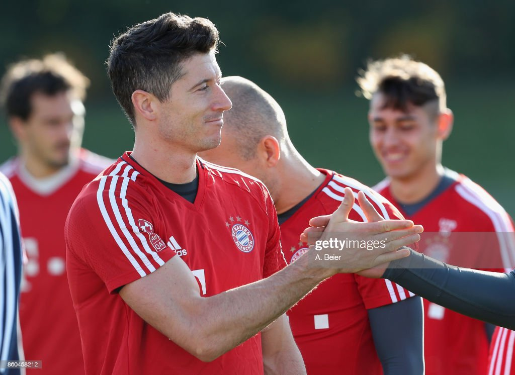 Robert Lewandowski of FC Bayern Muenchen is pictured during a training session at the Saebener Strasse training ground on October 12, 2017 in Munich, Germany.