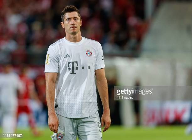 Robert Lewandowski of FC Bayern Muenchen looks on after the DFB Cup first round match between Energie Cottbus and FC Bayern Muenchen at Stadion der...