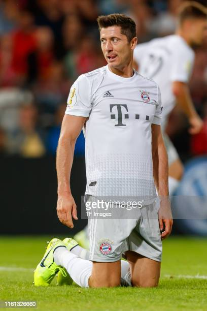 Robert Lewandowski of FC Bayern Muenchen looks on during the DFB Cup first round match between Energie Cottbus and FC Bayern Muenchen at Stadion der...