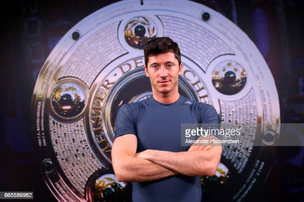 Robert Lewandowski of FC Bayern Muenchen pose for a portrait during an Interview and Photocall on January 30 2017 in Munich Germany