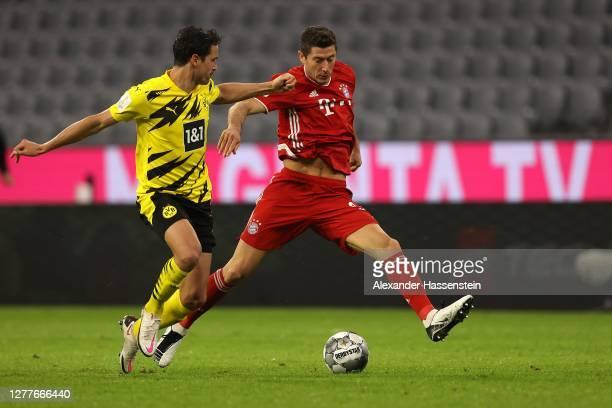 Robert Lewandowski of FC Bayern Muenchen runs with the ball during the Supercup 2020 match between FC Bayern München and Borussia Dortmund at Allianz...