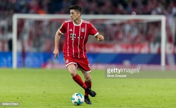 Robert Lewandowski of FC Bayern Muenchen runs with the ball during the Bundesliga match between FC Bayern Muenchen and Borussia Moenchengladbach at...