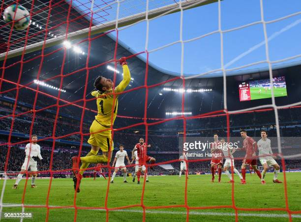 Robert Lewandowksi of FC Bayern Muenchen scores his team's second goal during the Bundesliga match between FC Bayern Muenchen and SV Werder Bremen at...