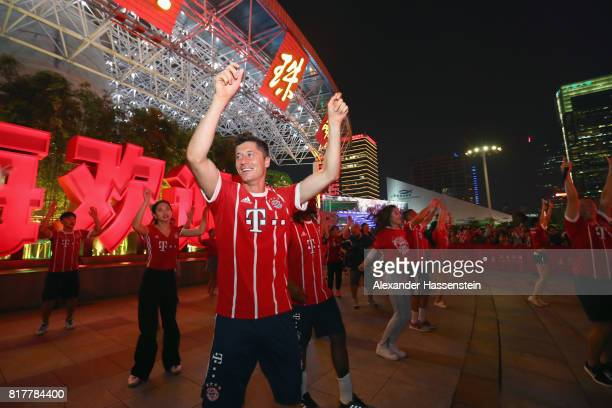 Robert Lewandowski of FC Bayern Muenchen visit the Shanghai Oriental Pearl Tower during the Audi Summer Tour 2017 on July 18 2017 in Shanghai China