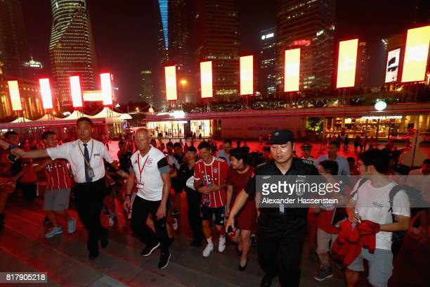 Robert Lewandowski of FC Bayern Muenchen visit the Shanghai Oriental Pearl Tower with his team mates during the Audi Summer Tour 2017 on July 18 2017...