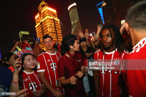 Robert Lewandowski of FC Bayern Muenchen visit the Shanghai Oriental Pearl Tower with his team mate Renato Sanches during the Audi Summer Tour 2017...