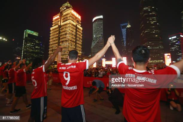 Robert Lewandowski of FC Bayern Muenchen visit with his team mates the Shanghai Oriental Pearl Tower during the Audi Summer Tour 2017 on July 18 2017...