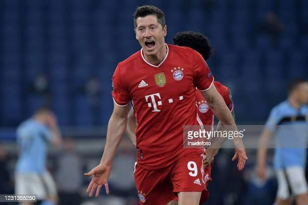 Robert Lewandowski of FC Bayern Munchen celebrates after scoring the goal of 0-1 during the Champions League round of 16 football match between SS...