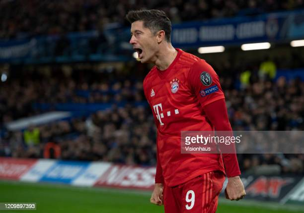 Robert Lewandowski of FC Bayern Munchen celebrates the first goal during the UEFA Champions League round of 16 first leg match between Chelsea FC and...