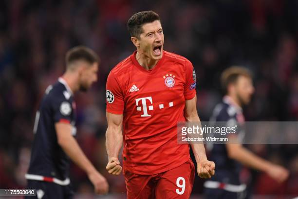Robert Lewandowski of FC Bayern Munich celebrates after scoring his sides second goal during the UEFA Champions League group B match between Bayern...