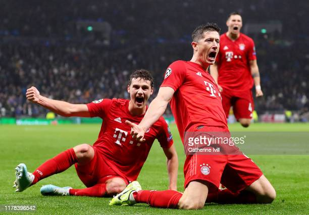 Robert Lewandowski of FC Bayern Munich celebrates after scoring his team's second goal during the UEFA Champions League group B match between...