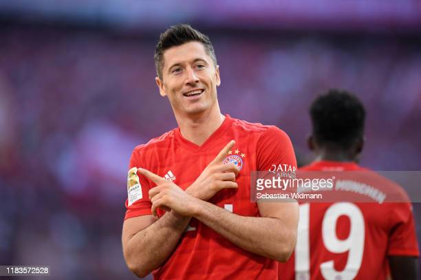 Robert Lewandowski of FC Bayern Munich celebrates after scoring his team's second goal during the Bundesliga match between FC Bayern Muenchen and 1...