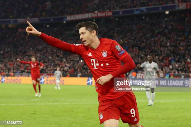 Robert Lewandowski of FC Bayern Munich celebrates after scoring his team's first goal during the UEFA Champions League group B match between Bayern...