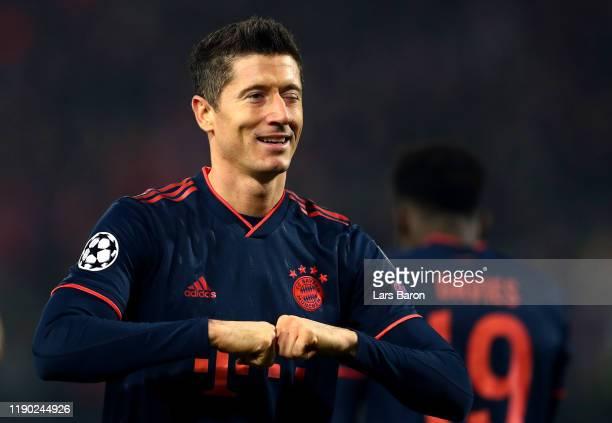 Robert Lewandowski of FC Bayern Munich celebrates after scoring his team's second goal during the UEFA Champions League group B match between Crvena...