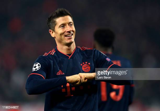 Robert Lewandowski of FC Bayern Munich celebrates after scoring his team's second goal during the UEFA Champions League group B match between Crvena...