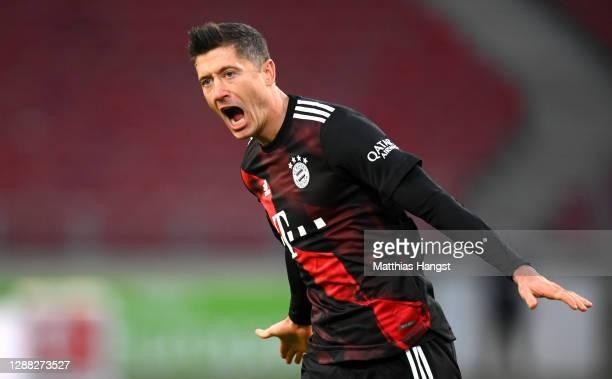 Robert Lewandowski of FC Bayern Munich celebrates after scoring his team's second goal during the Bundesliga match between VfB Stuttgart and FC...