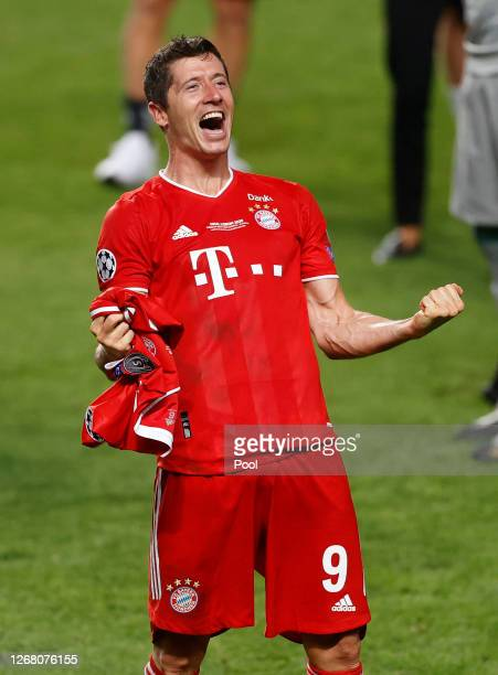 Robert Lewandowski of FC Bayern Munich celebrates his team's victory following the UEFA Champions League Final match between Paris Saint-Germain and...