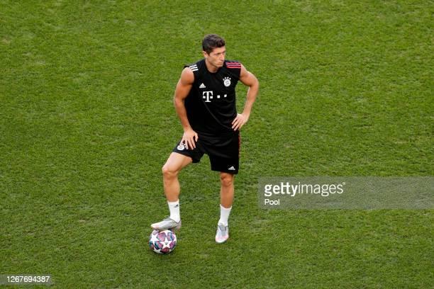 Robert Lewandowski of FC Bayern Munich looks on during a training session ahead of their UEFA Champions League Final match against Paris...