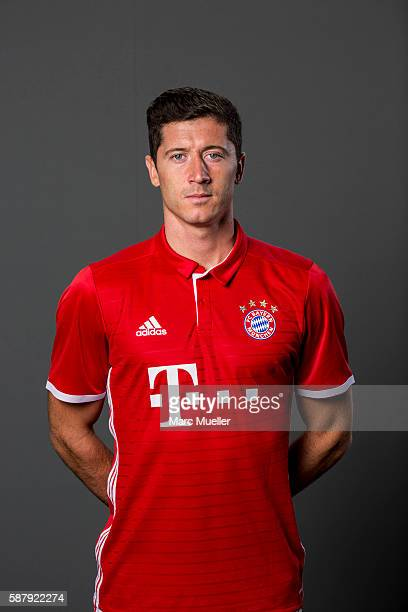Robert Lewandowski of FC Bayern Munich pose during the team presentation on August 10 2016 in Munich Germany