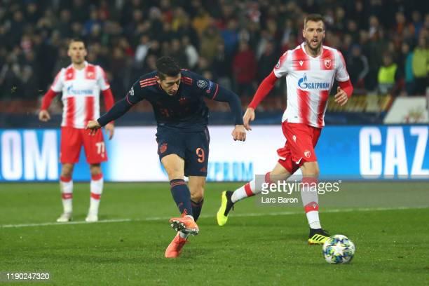 Robert Lewandowski of FC Bayern Munich scores his team's fifth goal during the UEFA Champions League group B match between Crvena Zvezda and Bayern...