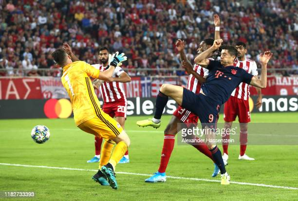 Robert Lewandowski of FC Bayern Munich scores his team's second goal during the UEFA Champions League group B match between Olympiacos FC and Bayern...