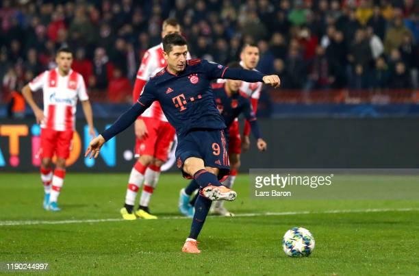 Robert Lewandowski of FC Bayern Munich scores his team's second goal during the UEFA Champions League group B match between Crvena Zvezda and Bayern...