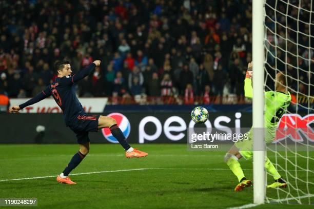 Robert Lewandowski of FC Bayern Munich scores his team's third goal during the UEFA Champions League group B match between Crvena Zvezda and Bayern...