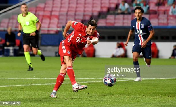 Robert Lewandowski of FC Bayern Munich shoots during the UEFA Champions League Final match between Paris SaintGermain and Bayern Munich at Estadio do...