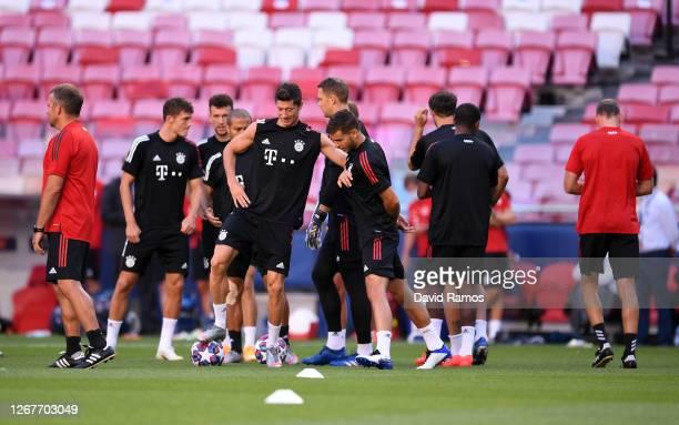 Robert Lewandowski of FC Bayern Munich with Lucas Hernandez of FC Bayern Munich during a training session ahead of their UEFA Champions League Final...