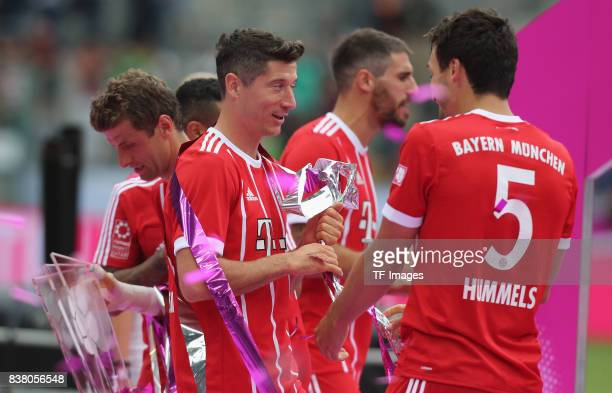 Robert Lewandowski of Muenchen and Mats Hummels during the Telekom Cup 2017 Final between SV Werder Bremen and FC Bayern Muenchen at Borussia Park on...