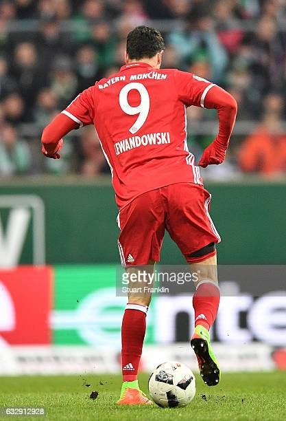 Robert Lewandowski of Muenchen beckheels a ball during the Bundesliga match between Werder Bremen and Bayern Muenchen at Weserstadion on January 28...