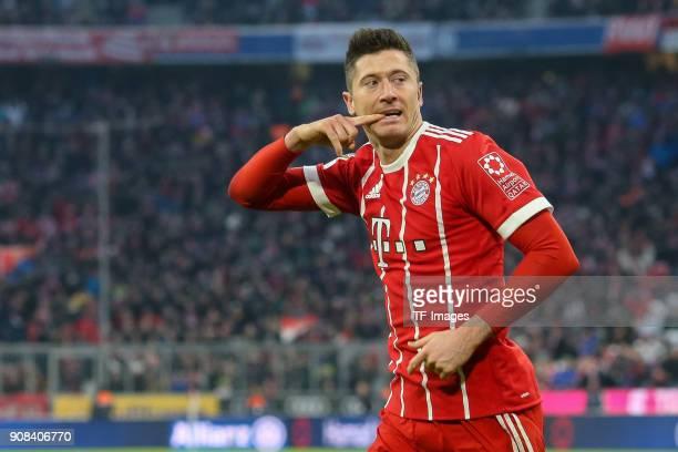 Robert Lewandowski of Muenchen celebrates after scoring his team`s second goal during the Bundesliga match between FC Bayern Muenchen and SV Werder...