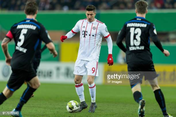 Robert Lewandowski of Muenchen controls the ball during the DFB Cup match between SC Paderborn and Bayern Muenchen at Benteler Arena on February 6...