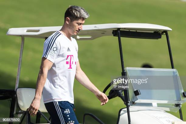 Robert Lewandowski of Muenchen looks on during the FC Bayern Muenchen training camp at Aspire Academy on January 06 2018 in Doha Qatar