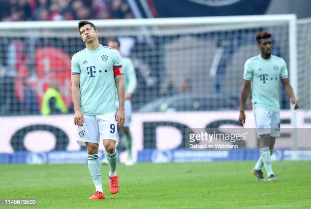 Robert Lewandowski of Muenchen reacts during the Bundesliga match between 1 FC Nuernberg and FC Bayern Muenchen at MaxMorlockStadion on April 28 2019...