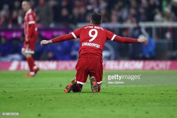 Robert Lewandowski of Muenchen reacts during the Bundesliga match between FC Bayern Muenchen and FC Schalke 04 at Allianz Arena on February 10 2018...