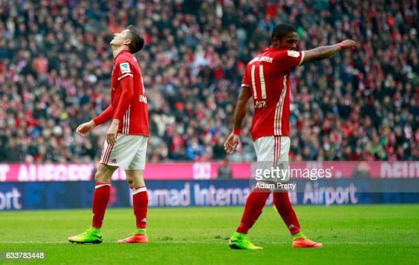 Robert Lewandowski of Muenchen reacts during the Bundesliga match between Bayern Muenchen and FC Schalke 04 at Allianz Arena on February 4 2017 in...