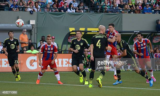 Robert Lewandowski of Muenchen scores his teams first goal during the MLS All-Star game between the MLS All-Stars and FC Bayern Muenchen at...