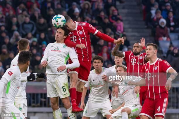 Robert Lewandowski of Muenchen scores the team`s second goal and Thomas Delaney of Bremen Milos Veljkovic of Bremen Ludwig Augustinsson of Bremen...