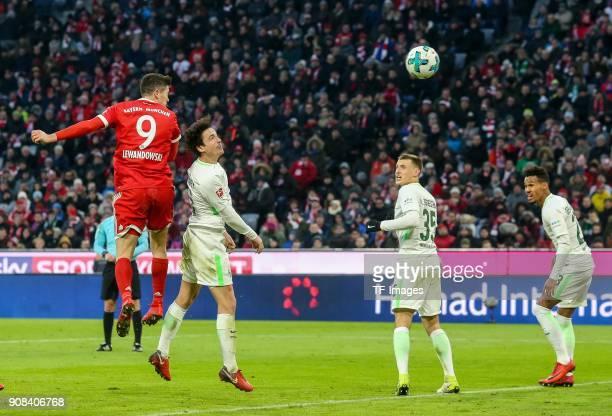 Robert Lewandowski of Muenchen scores the team`s second goal during the Bundesliga match between FC Bayern Muenchen and SV Werder Bremen at Allianz...